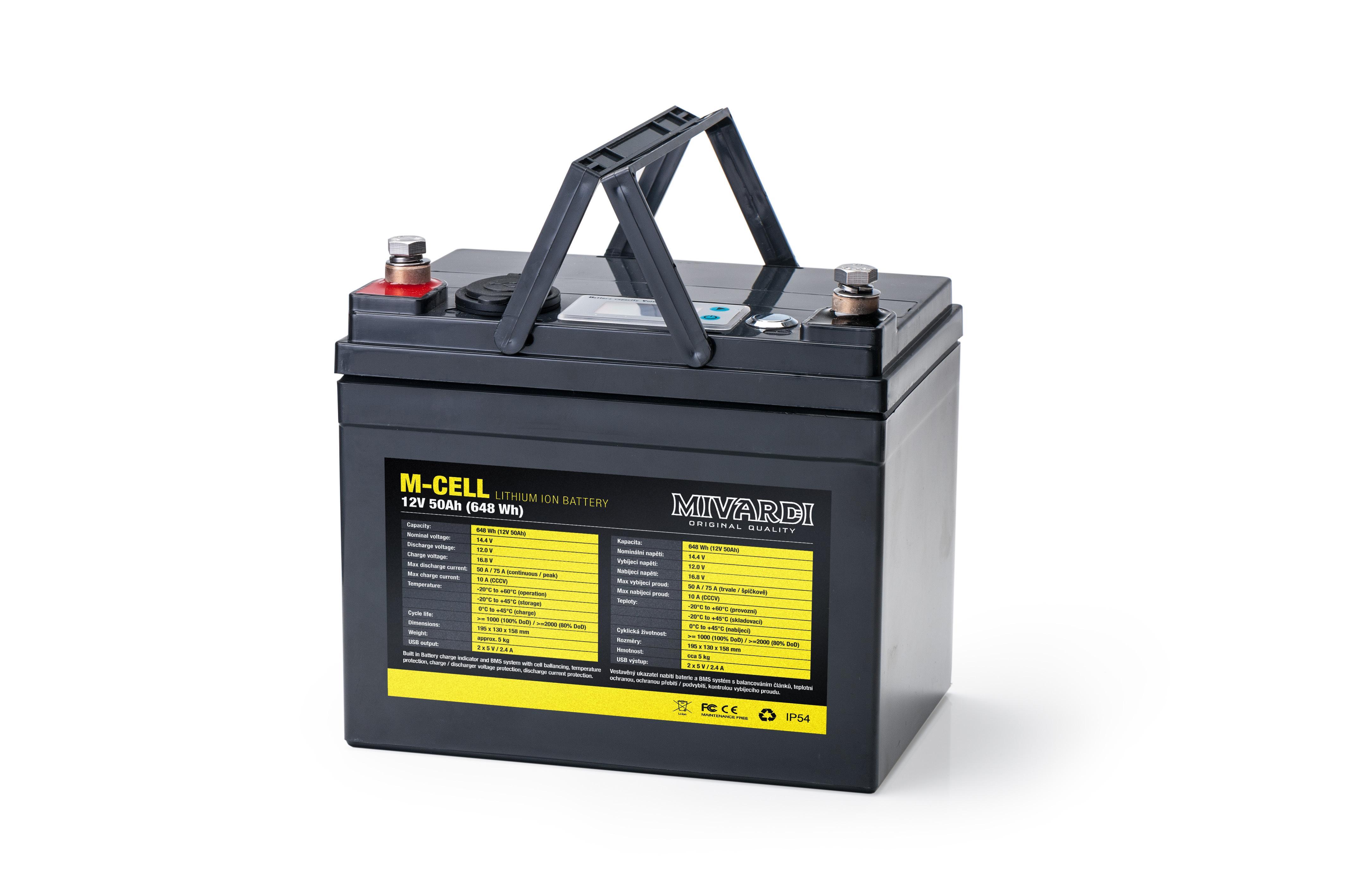 Mivardi Lithiový akumulátor M-CELL 12V 50Ah + 10A nabíjačka