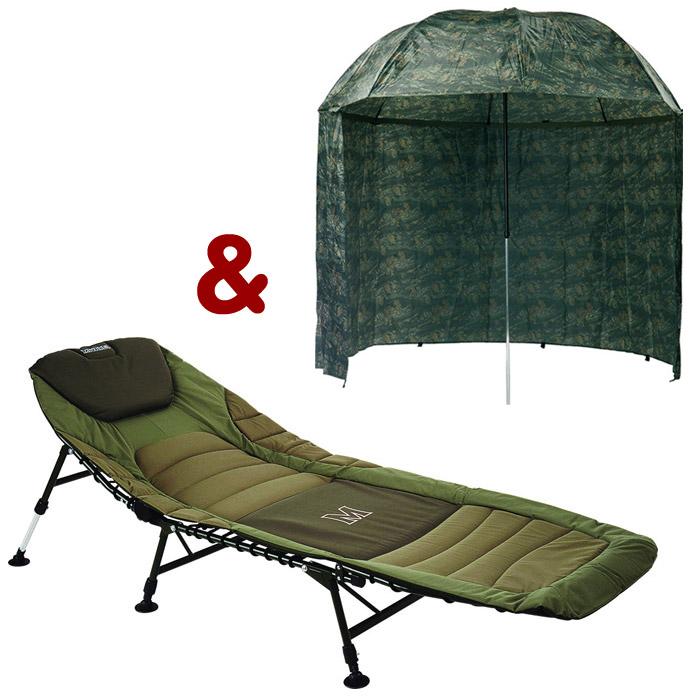 Bedchair Premium + dáždnik PVC Camou