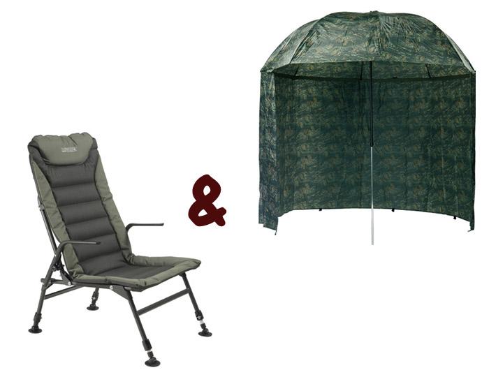 Stolička Premium Long + Dáždnik Camou PVC