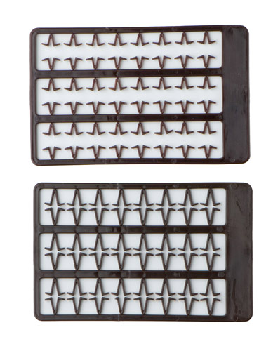 Boilie stoppers V small (brown) 48pcs rack